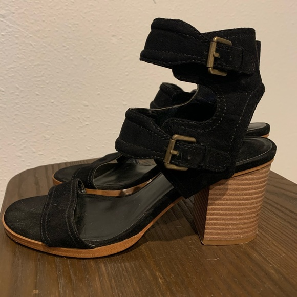 Black ankle straps with brown heels